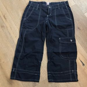 joie blue capris with white stitching